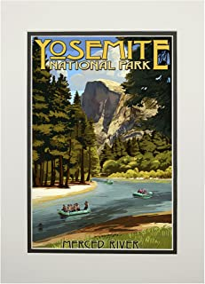 product image for Yosemite National Park, California - Merced River Rafting (11x14 Double-Matted Art Print, Wall Decor Ready to Frame)