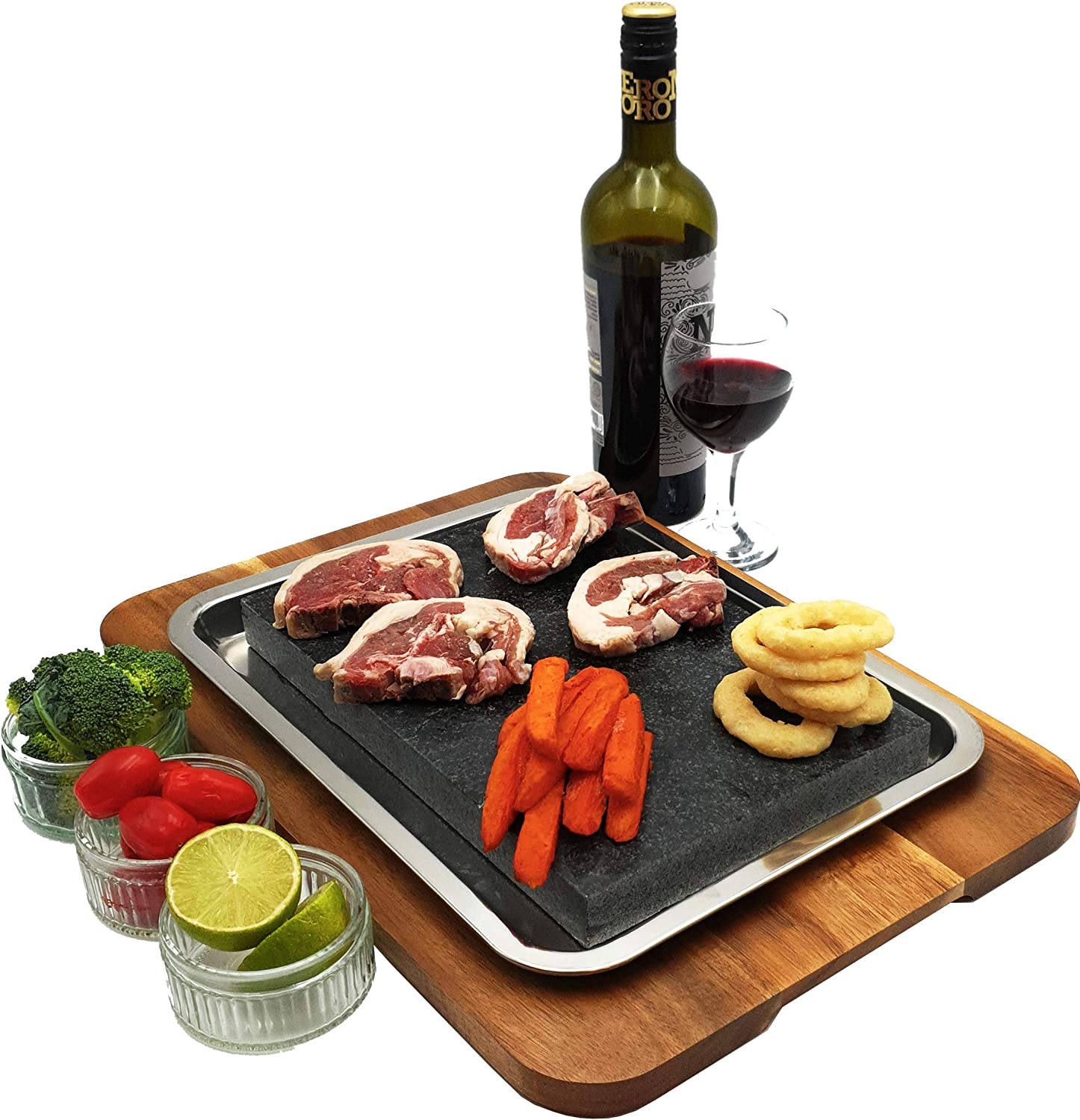 Extra Large Steak Stone Set. Premium Granite Lava Stone, Stainless Steel Juice-Catching Pan & Acacia Wood Tray. Hibachi Style Cooking at Dinner Parties Hot/Cold Dishes Meat Vegetables Fish. Gift Idea