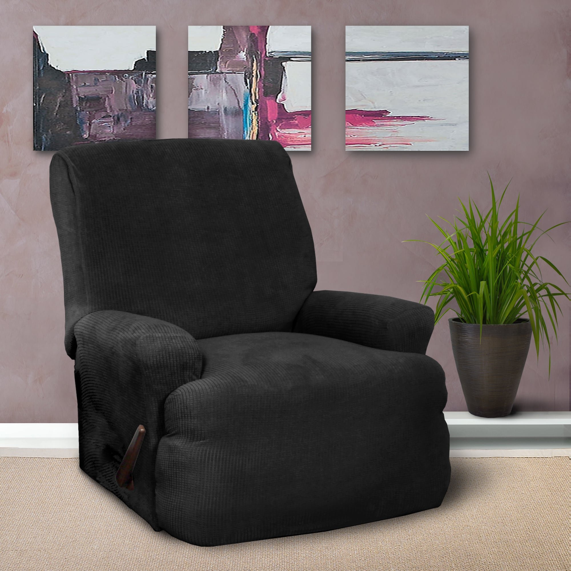 Coverworks Montgomery Black 1-piece Classic Stretch Recliner Slipcover by Coverworks