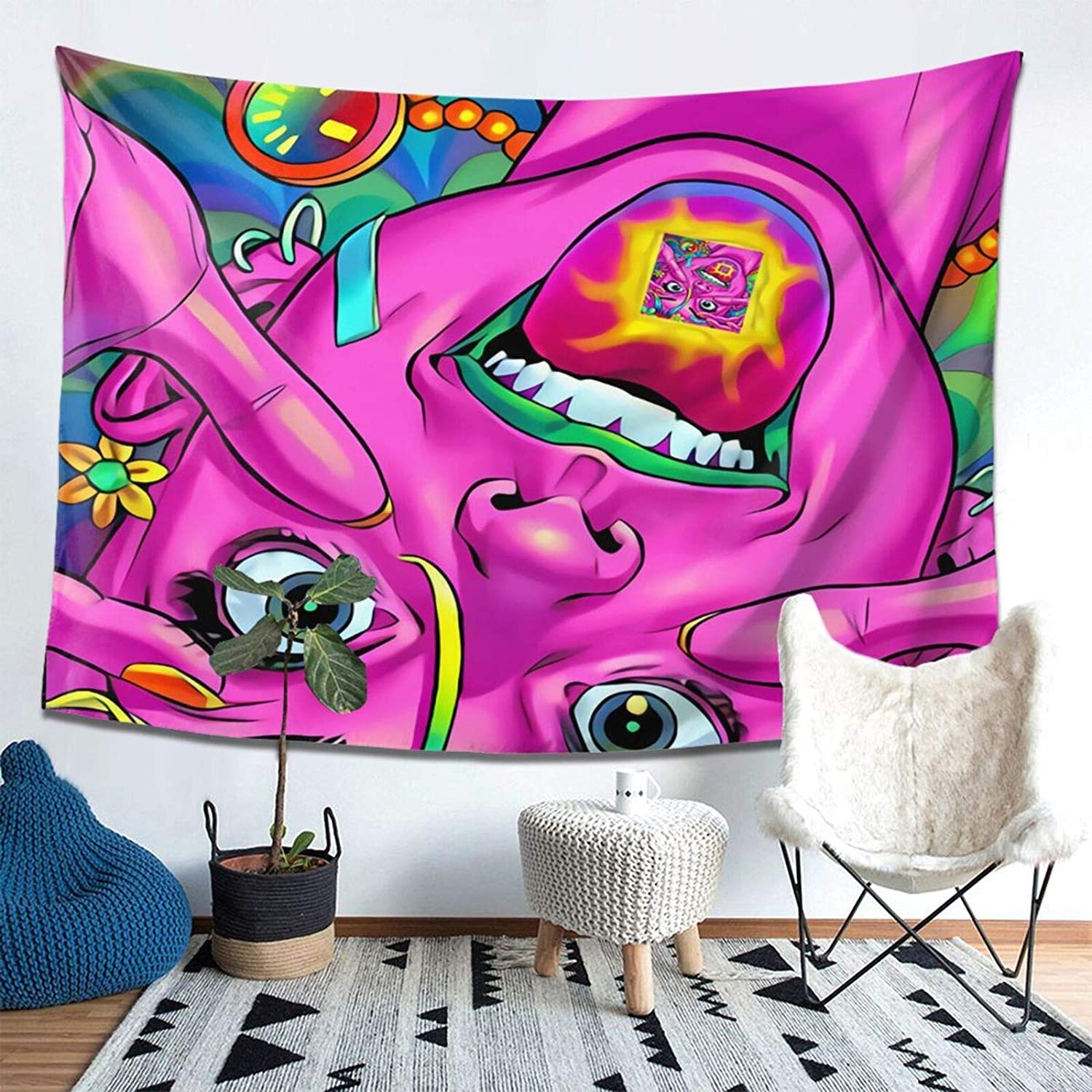 Hippie Smiley Tapestry Wall Hanging,Pink Tapestry Aesthetic Wall Blanket Multifunctional Mat for Home Kitchen Office Dorm Party Decoration 60x40 inch