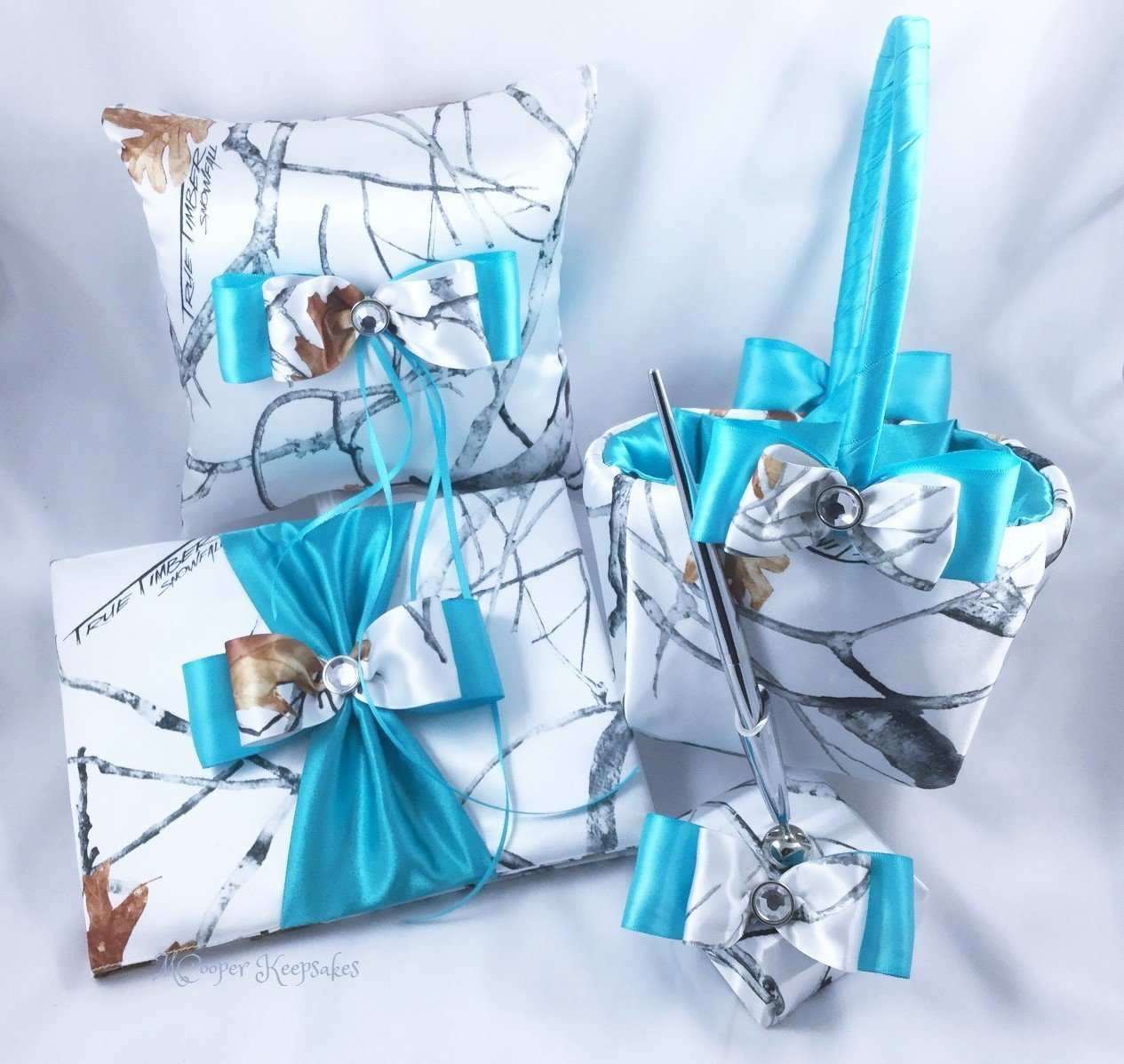 d0524cee2fa Amazon.com  True Timber Snowfall Satin Camo   Teal Wedding Set  Handmade