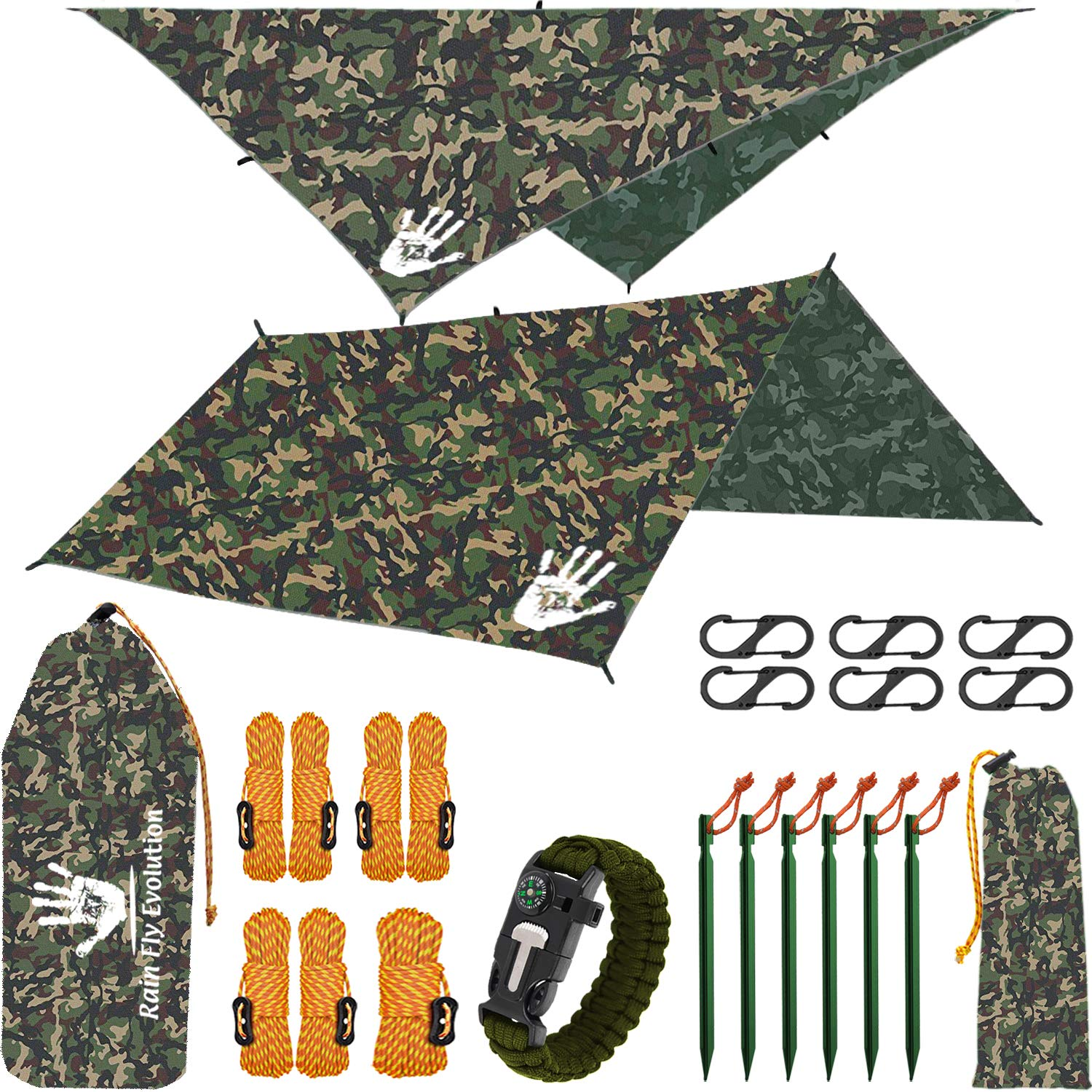 RainFlyEVOLUTION 10 x 10 ft Hammock Waterproof Camo RAIN Fly Tent TARP 170'' Centerline & Survival Bracelet Kit - Lightweight - Backpacking Approved - Perfect Hammock Shelter Sunshade for Camping by Best Choice Products