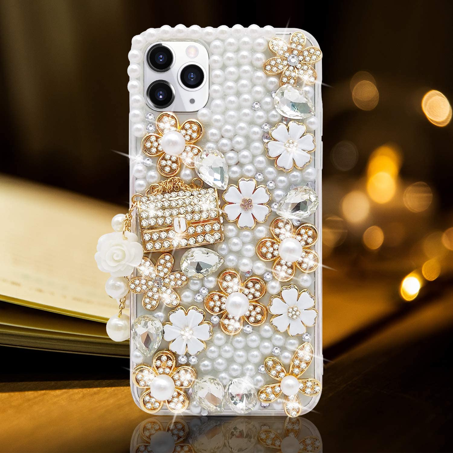 Guppy for iPhone 11 Pro Max Case Women Luxury 3D Bling Shiny Rhinestone Diamond Crystal Pearl Handmade Pendant Handbag Flowers Soft Protective Anti-Fall Case for iPhone 11 Pro Max