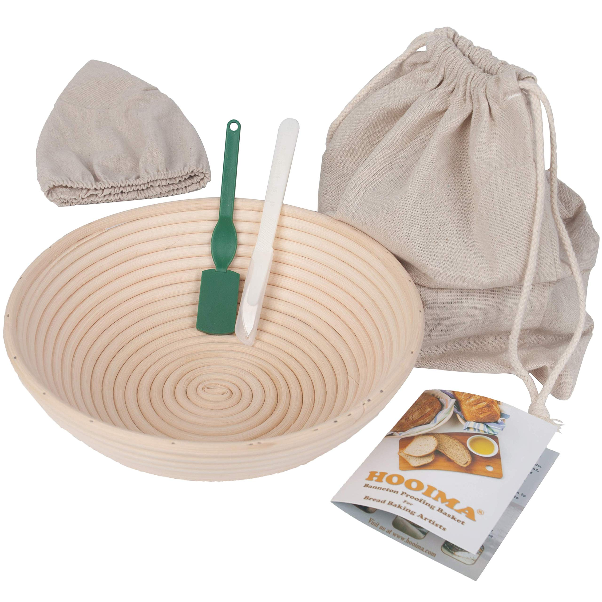 Banneton Sour Bread Basket - Sourdough Proofing Set - Bread Bowl & Linen Liner Cloth + Lames - 100% Natural Rattan Basket - Bread Bag Included - 10'' Brotform - for Homemade Bread by HOOIMA