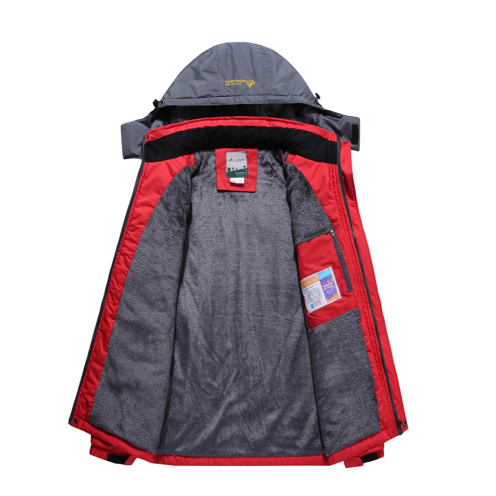 Men's Winter Jacket Outdoor Skiing Mountaineering Warm Windproof Clothes Waterproof Casual Sports Coat Red