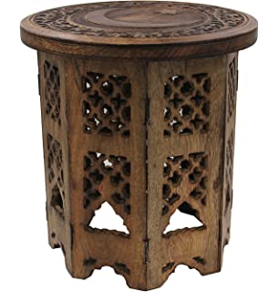Merveilleux DharmaObjects Solid Mango Wood Hand Carved Prayer Puja Shrine Altar  Meditation Table Round (Star Moon