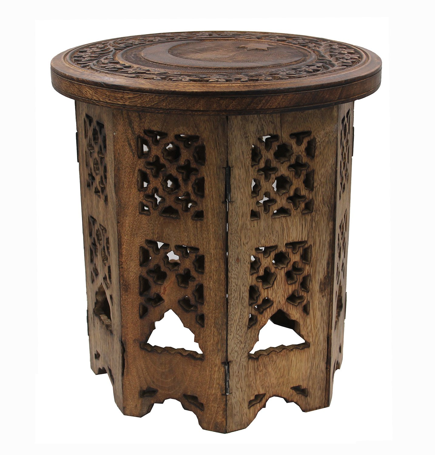 DharmaObjects Solid Mango Wood Hand Carved Prayer Puja Shrine Altar Meditation Table Round (Star Moon)