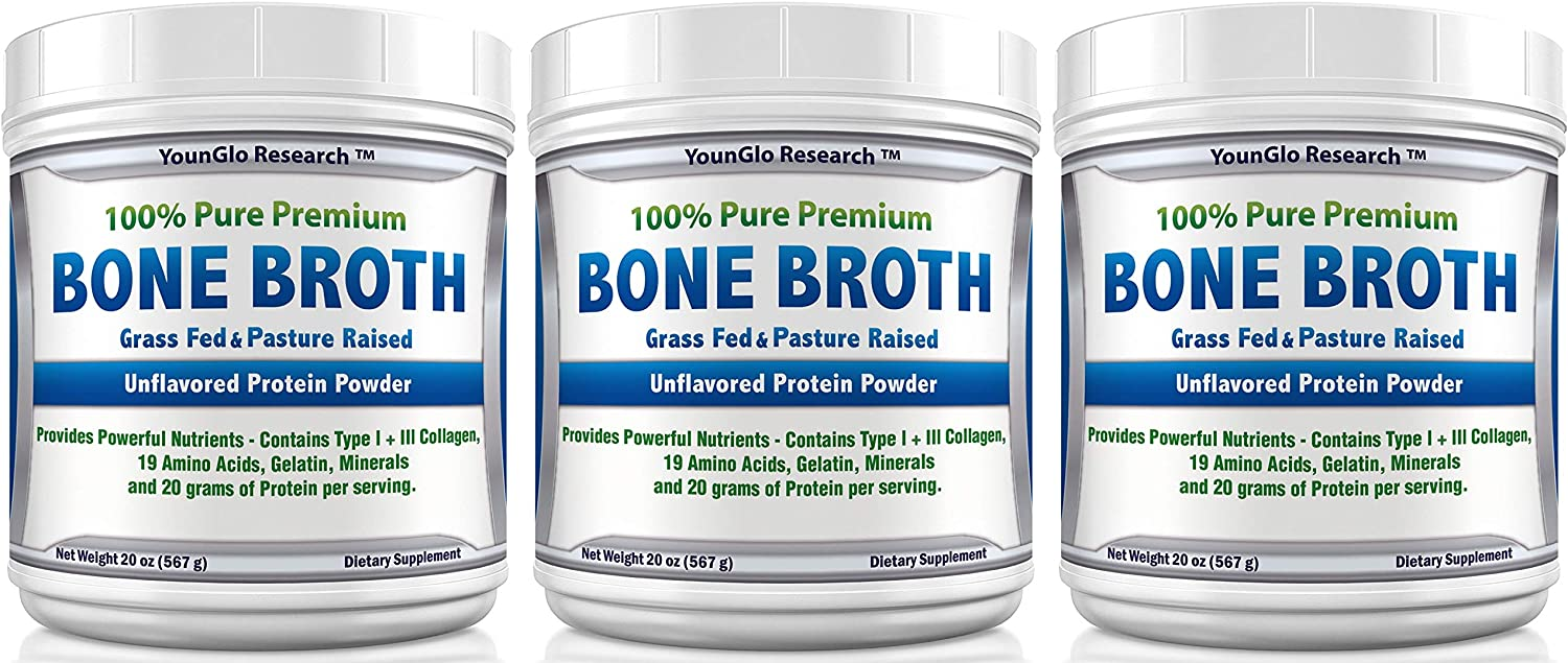 Bone Broth Protein Powder from Grass Fed Beef – 20oz – High in Collagen and Gelatin – Paleo and Keto Friendly – Unflavored 3 Pack