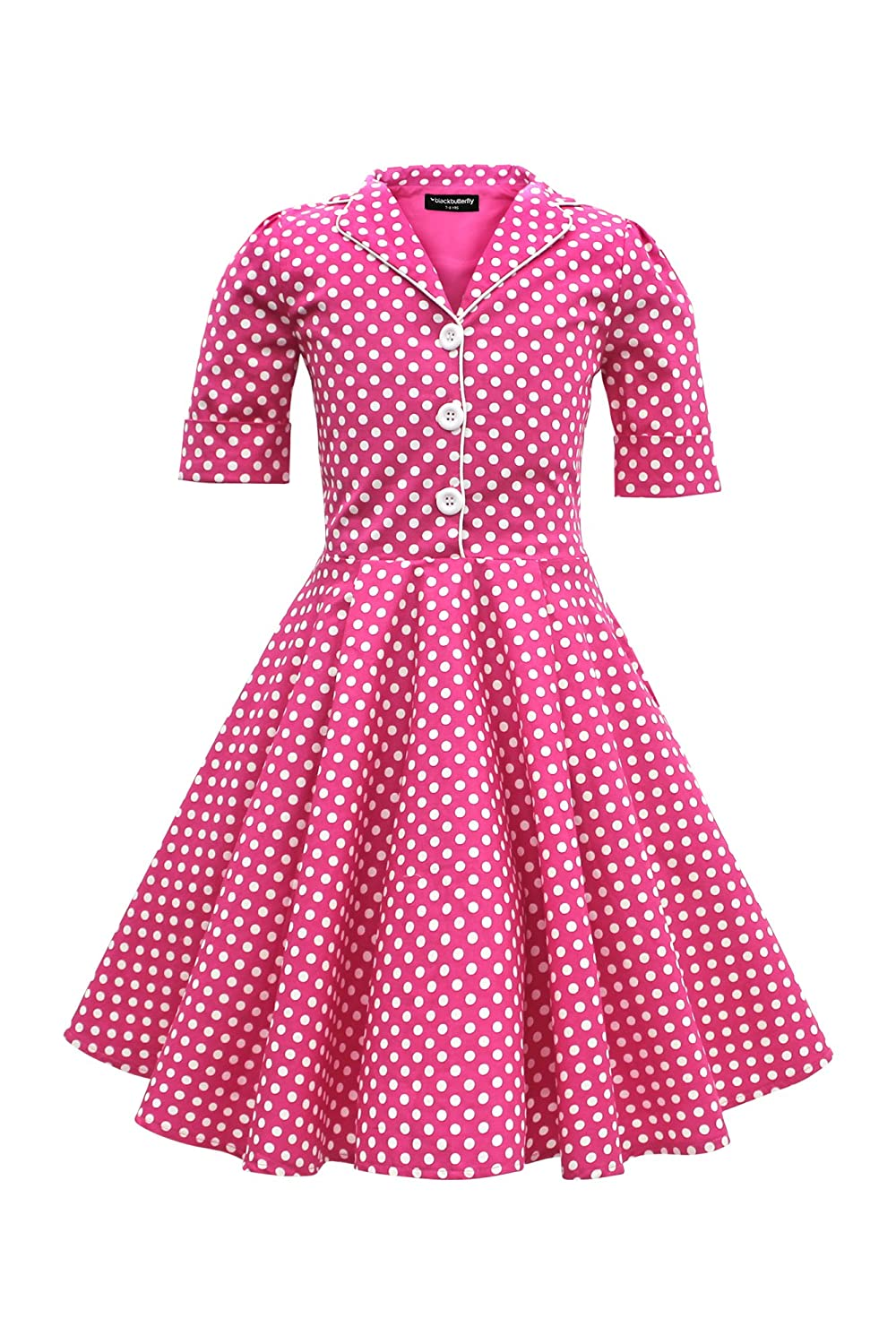 Vintage Style Children's Clothing: Girls, Boys, Baby, Toddler BlackButterfly Kids Sabrina Vintage Polka Dot 50s Girls Dress $35.99 AT vintagedancer.com