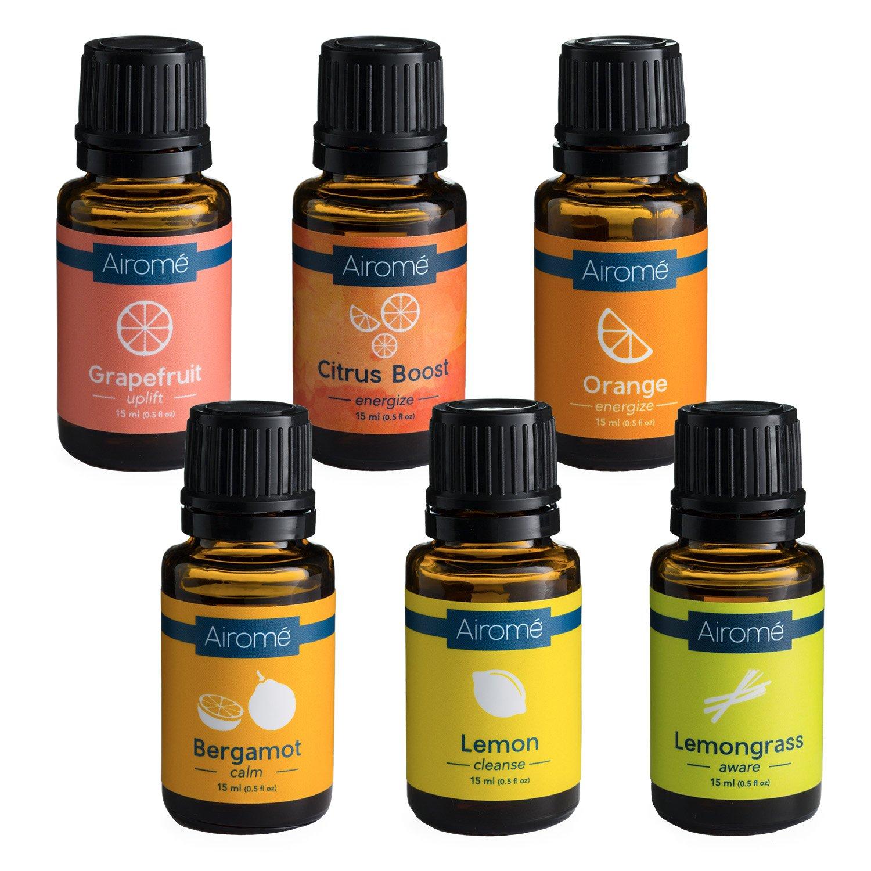 Airomé Essential Oil Citrus Bundle, Set of Six 15 ml Therapeutic Grade Essential Oils | Grapefruit, Citrus Boost Blend, Orange, Bergamot, Lemon, Lemongrass