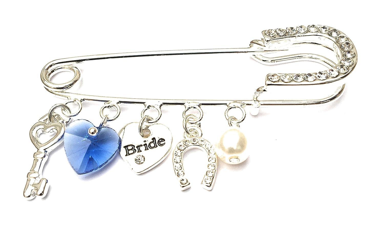 Equilibrium, versilbertes Braut-Anstecknadel-Andenken–etwas Altes, etwas Neues, etwas Geliehenes und etwas Blaues Joe Davies