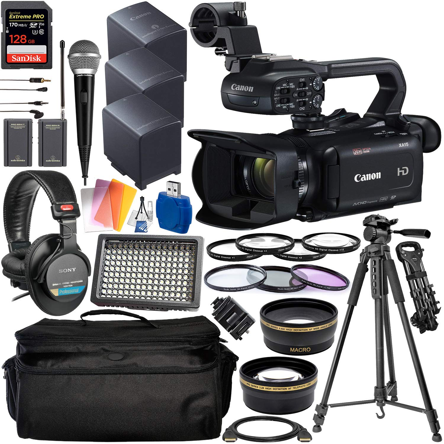 Canon XA15 Compact Full HD Camcorder with Deluxe Accessory Bundle - Includes: Audio-Technica VHF TwinMic System + Sony MDR-7506 Headphones + SanDisk Extreme PRO 128GB SD Card + More by Canon