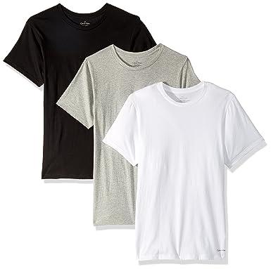 b11ac9d64e Calvin Klein Men's 3-Pack Cotton Classic Short Sleeve Crew Neck T-Shirt,