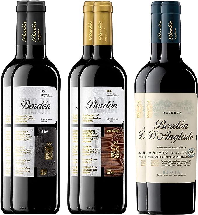 Pack Vinos Tintos Clásicos de La Rioja (6 Botellas) - 2 Bordón Reserva + 2 Bordón Gran Reserva + 2 Bordón DAnglade Reserva: Amazon.es: Alimentación y bebidas