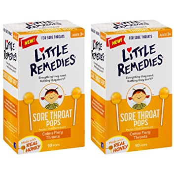 Little Remedies Sore Throat Pops made with Real Honey   10-Lollipops per  Pack   2-Pack