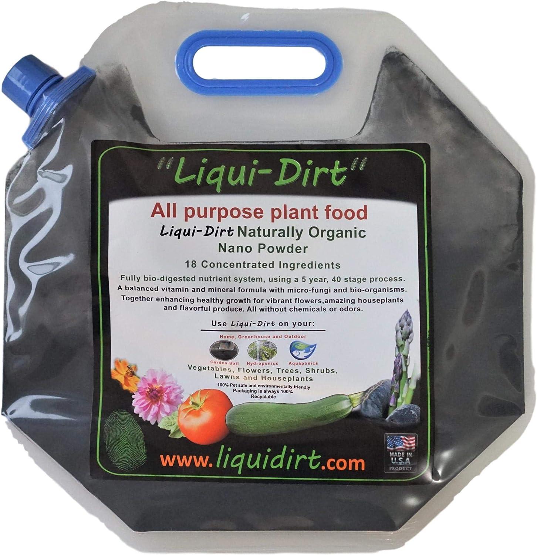 LiquiDirt Nano Powder All-Purpose Organic Fertilizer Indoor Outdoor (Makes 500 gallons)18 Balanced Super Foods for Plants - Balanced Blend of Vitamins Minerals Micro-Fungi and Bio-Organisms