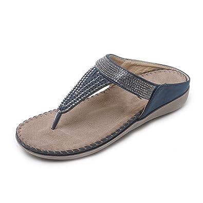 reputable site e72a7 b12be APTRO Damen Hauseschuhe Pantoletten Sandalen mit Strass Strand Outdoor  Schuhe