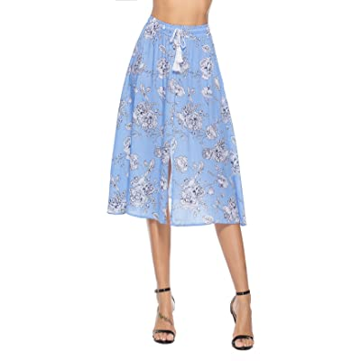 YOUBENGA Women's Casual Floral Elastic Waist Slit Knee Length Summer Beach Skirt at Women's Clothing store
