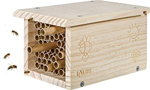 Rivajam Build a Bee House DIY Woodworking Project | Solitary Mason Bee Hive Nesting Box Wood Building Kit & Tools | Garden Arts & Crafts Activities for Toddler Boys & Girls Kids Teens Adults & Family