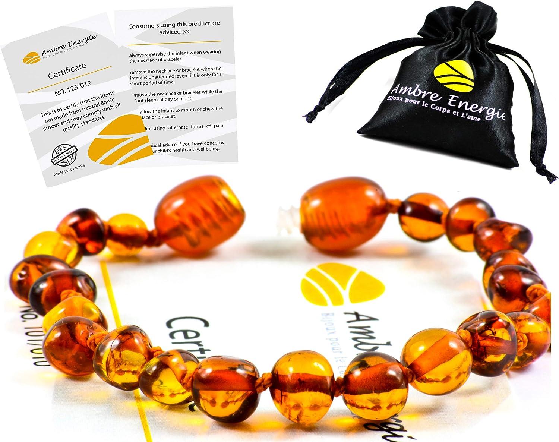 AmberJewellery Pulsera de ámbar 14cm. - De la Máxima Calidad Certificado Genuino Collar de Ámbar Báltico/Rápido Entrega / 100 Días de Garantía de Devolución de Dinero! (Cognac)