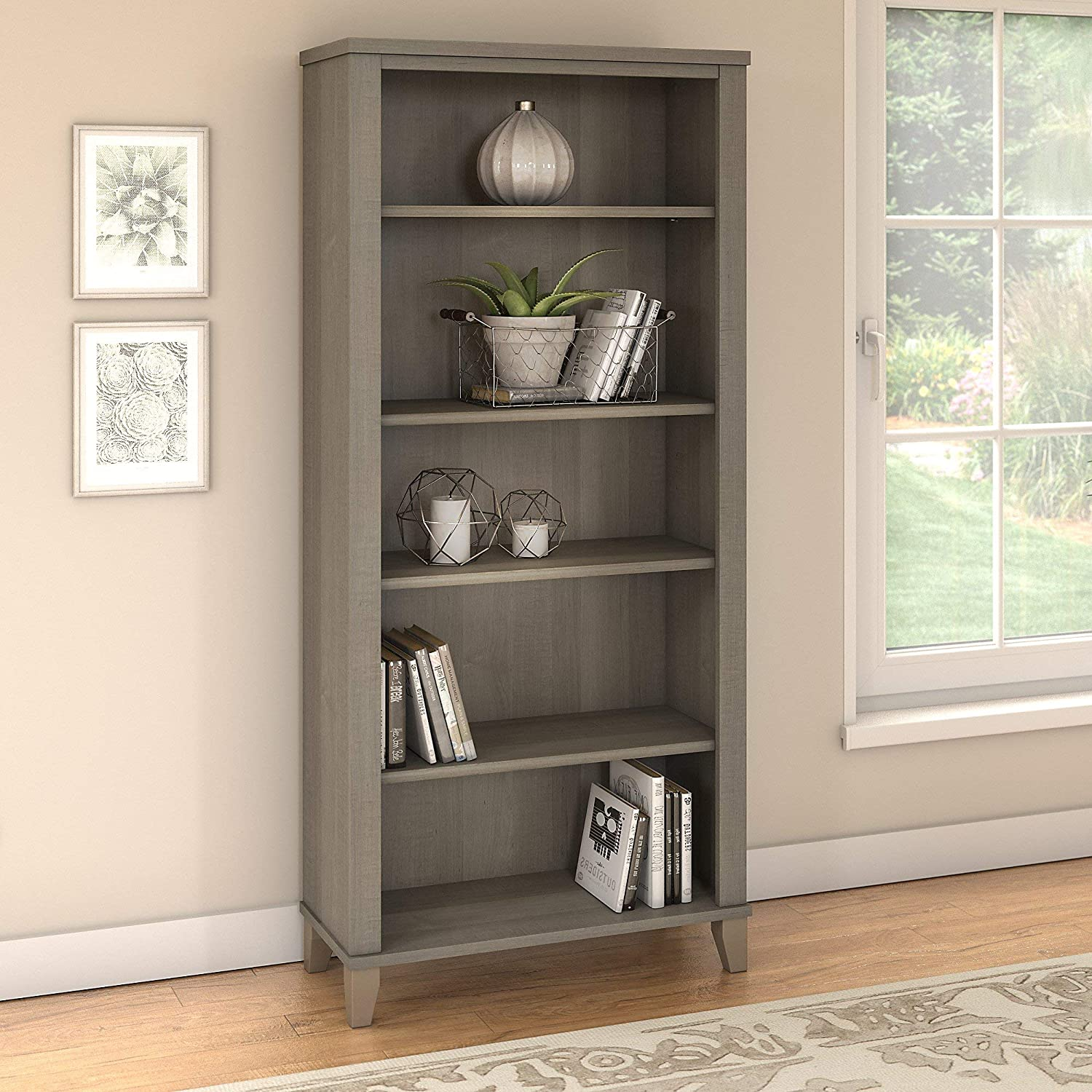 Bush Furniture Somerset 5 Shelf Bookcase in Ash Gray