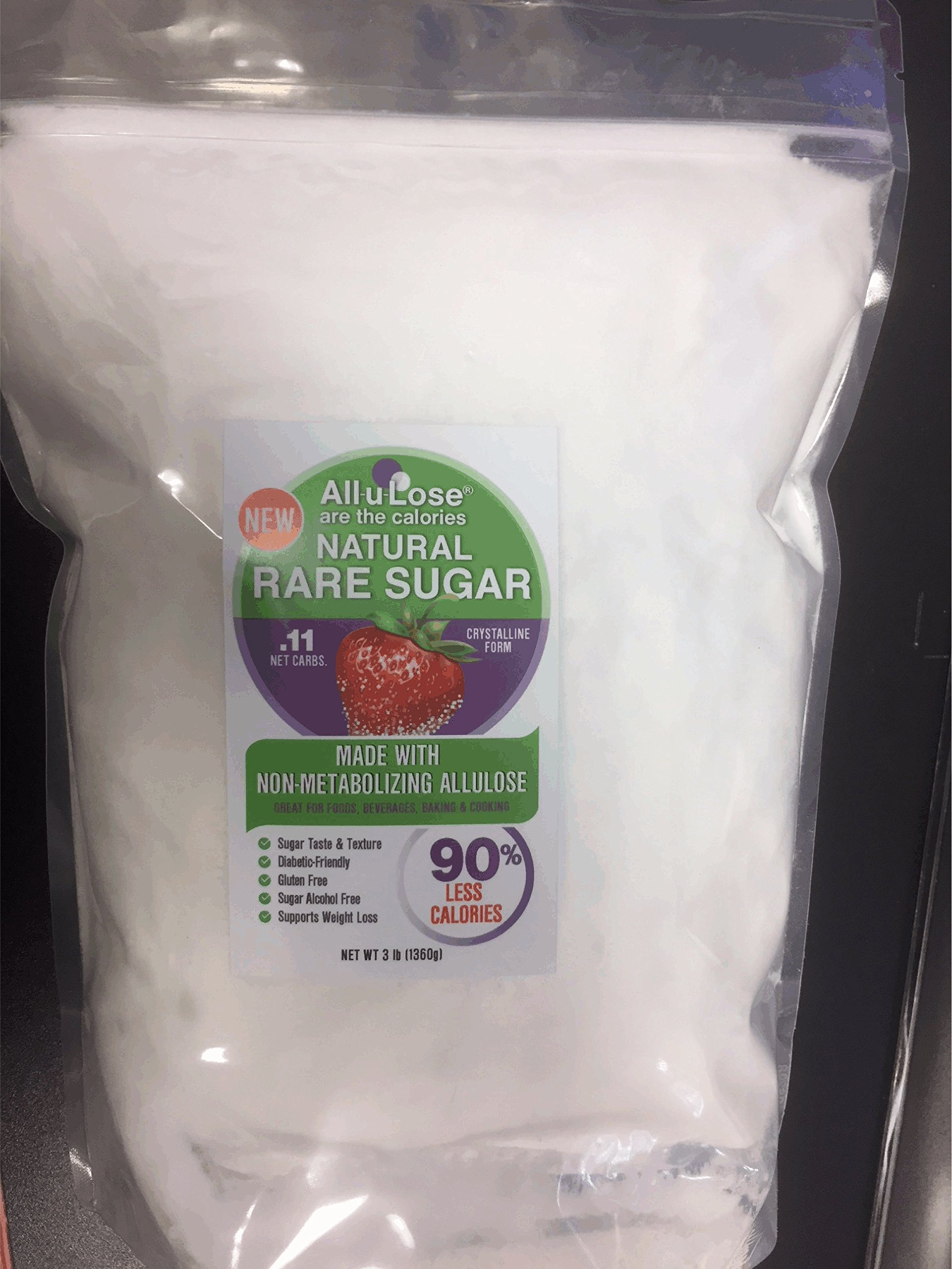 All-u-Lose Natural Rare Sugar Sweetener, Crystalline Allulose - 2, 3 lb. Stand-up Pouches
