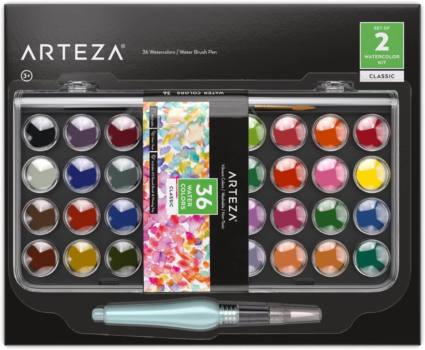 ARTEZA Classic Watercolor Paint, Set of 36 Vibrant Color Cakes, Includes 1 Water Brush Pen, Travel Watercolor Kit for Adults, Artists, and Students