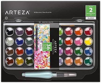Arteza Set acuarelas clásicas, juego de 36 pastillas de colores vivos, incluye 1 pincel de agua rellenable, ideal como kit de acuarelas portátiles para adultos y niños: Amazon.es: Juguetes y juegos