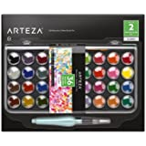 Arteza Classic Watercolor Paint, Set of 36 Vibrant Color Cakes, Includes 1 Water Brush Pen (Set of 2 Items)