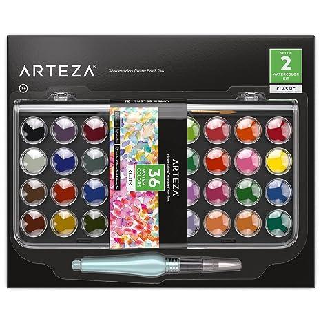 ARTEZA Kids Estuche de acuarelas y pincel para niños | 36 colores de pintura de acuarelas infantiles | Incluye pincel de agua | Colores clásicos