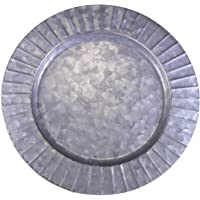 """Circleware 92980 Set of 4-13"""" Steel Silver Charger Plates, Classic Round All Occasion Entertainment Dinnerware Dishes, Limited Edition Home Food Service Decor, 4-pack, Galvanized-Ribbed"""