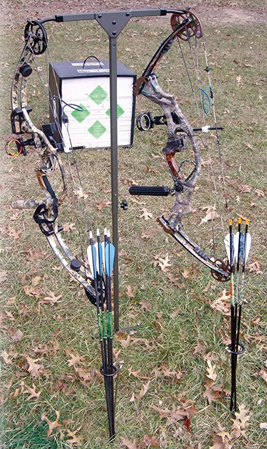 Steel Archery Ground Quiver holds Bow and Arrows
