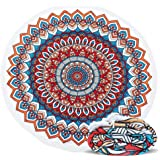 Round Beach Towel,ELECCTV Microfiber Round Beach Blanket for Yoga Mat Picnic Blanket Baby Pet Playing Mat with Fringe Tassels