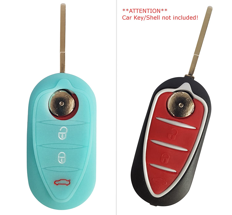 Coque de clé de voiture CK+ en silicone pour Alfa Romeo Giulietta, Giulia, MiTo Noir