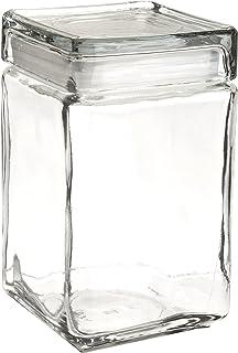 oneida 85588r stackable square glass jar wglass lid 15 qt clear