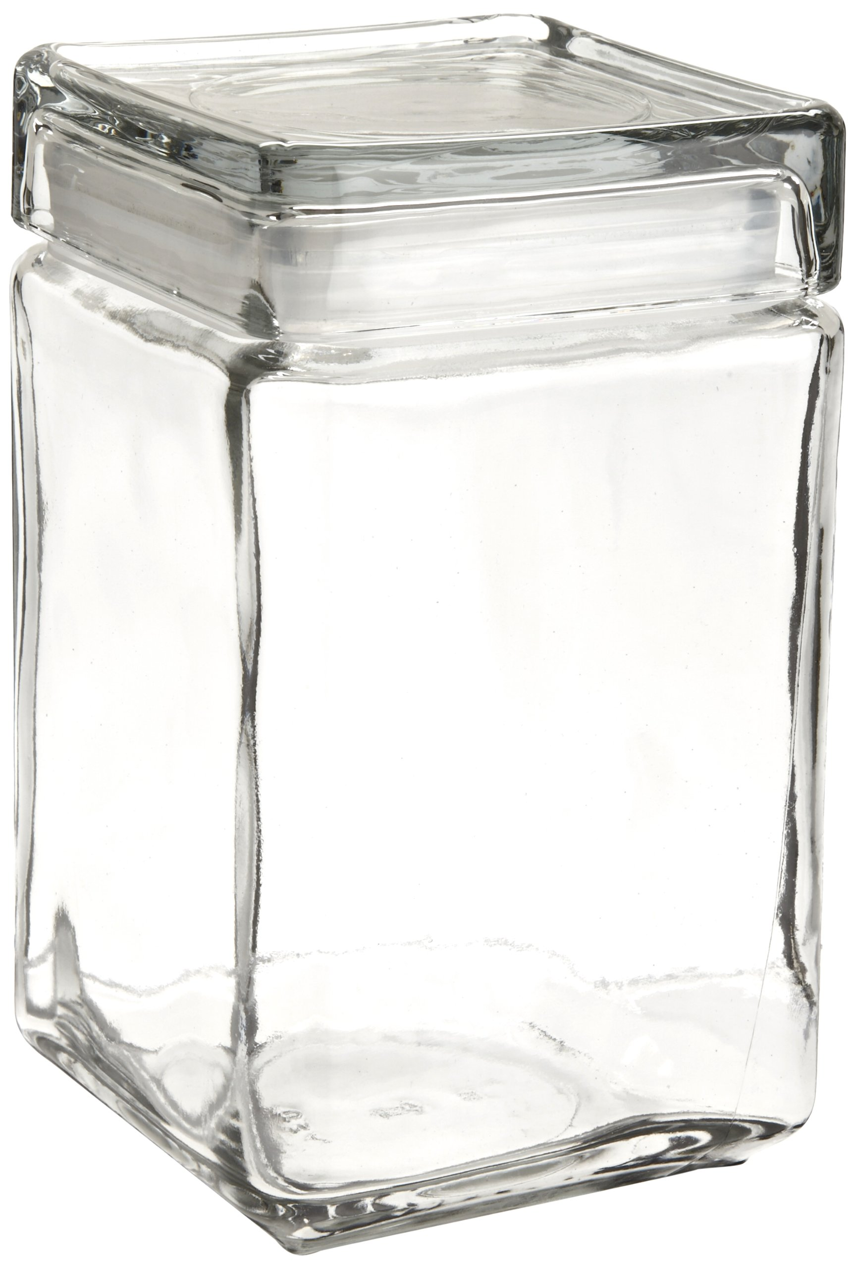 Oneida 85588R Stackable Square Glass Jar w/Glass Lid, 1.5 qt, Clear (Case of 4)