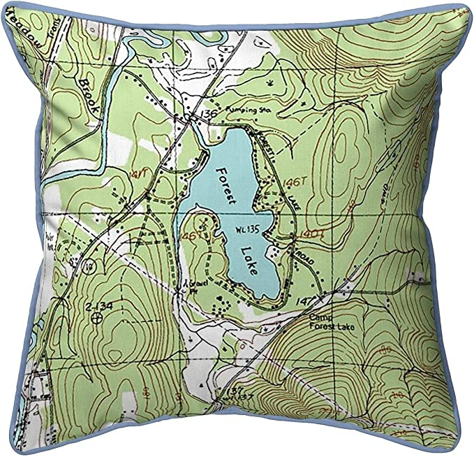 Forest Lake Nh Nautical Map Large Corded Indoor Outdoor Pillow 18x18 Multi Color Graphic Print Coastal Polyester One Water Resistant Home Kitchen
