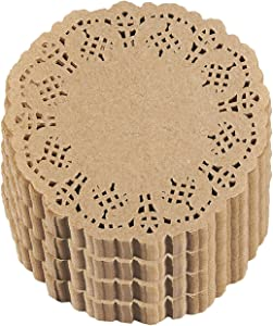 Lace Paper Doilies - 1000-Pack Round Decorative Paper Placemats Bulk for Cakes, Desserts, Baked Treat Display, Ideal for Weddings, Formal Event Tableware Decoration - Brown, 4 Inches in Diameter