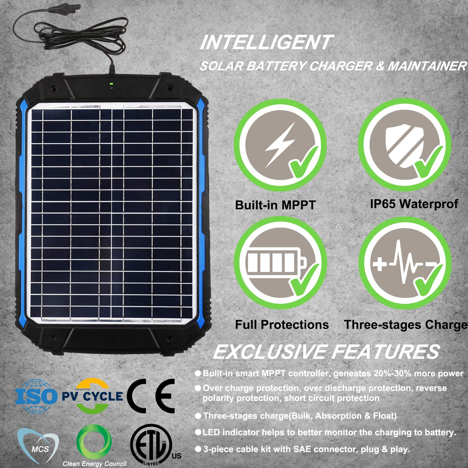 Motorcycle Built-in Intelligent MPPT Charge Controller 18W Solar Panel Trickle Charging Kit for Car etc SUNER POWER Upgraded 12V Waterproof Solar Battery Charger /& Maintainer Pro Marine RV