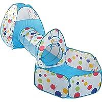 Truedays Tente de Jeu pour Enfants Maison et Tunnel Tente igloo Pop Up Tunnel Tente Piscine à boules avec tunnel Maison de Jouet et Piscine Facile Pliant (Modèle 3),bleu