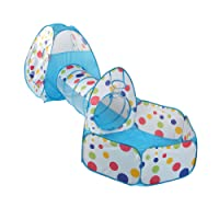 Truedays 3 in 1 Portable Pop up Kids Play Tent with Tunnel and Ball Pit Indoor and Outdoor Toys Play House Tent Tunnel Ocean Pool Colorful Polka Dot with Zippered Storage Bag,Blue