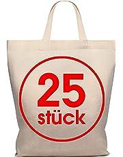 Lot de 25 sacs en coton 28 x 32 cm - Sac de rangement pour pharmacie - Sac de transport - Sac de transport - Sac cadeau - Certifié Öko-Tex - Sac en tissu non imprimé court pour peindre et imprimer.