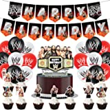 WWE Party Supplies Birthday Undertaker Party Decorations Set Include Banner Balloons Cake Tops