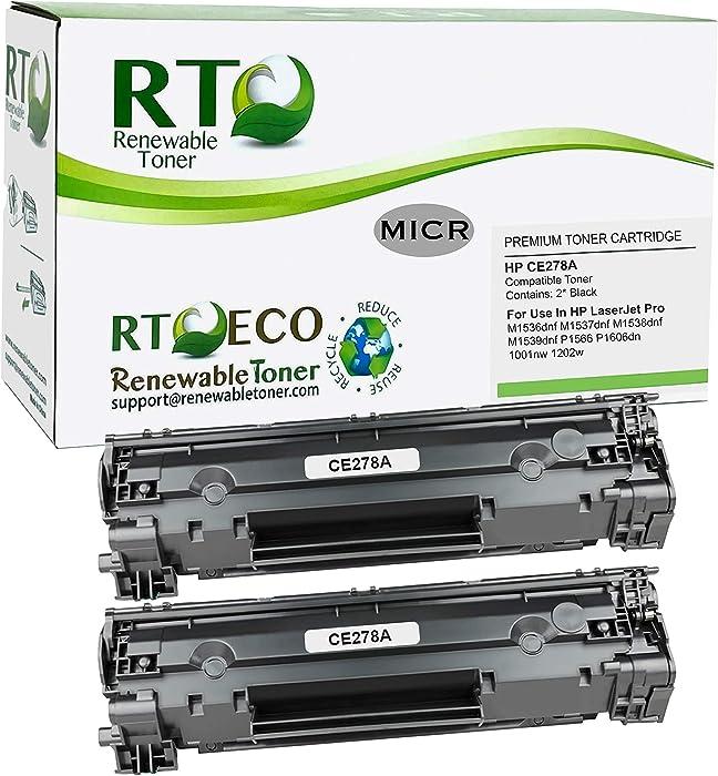 Renewable Toner Compatible MICR Toner Cartridge Replacement for HP CE278A 78A Canon 128 Laserjet M1536 M1537 M1538 M1539 P1566 P1606 (Black, 2-Pack)