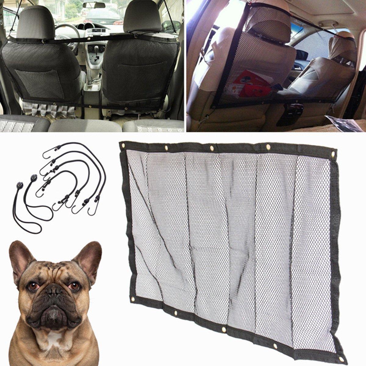 Pet Car Net Focuspet Car Safety Net Car Travel Pet Net barrier Dog Net Vehicle Dog Cat Car Barrier Safety Net with Hooks and Cords Black 45x24.5