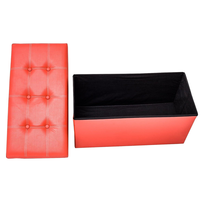 Rebecca Mobili Puff Asiento Ba/úl Polipiel Taburete Rojo almacenaje Asiento Moderno Organizador casa- 38 x 76 x 38 cm A x AN x FON RE4623 - Art