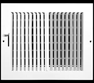 """10""""w X 6""""h 2-Way-Flat Stamped Steel - Vent Cover - Grille Register - Sidewall or Ceiling - High Airflow - White [Outer Dimensions: 11.75""""w X 7.75""""h]"""