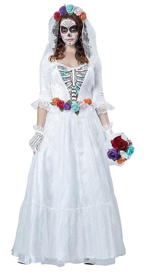 Disfraz de novia muerta mejicana para mujer: Amazon.es ...
