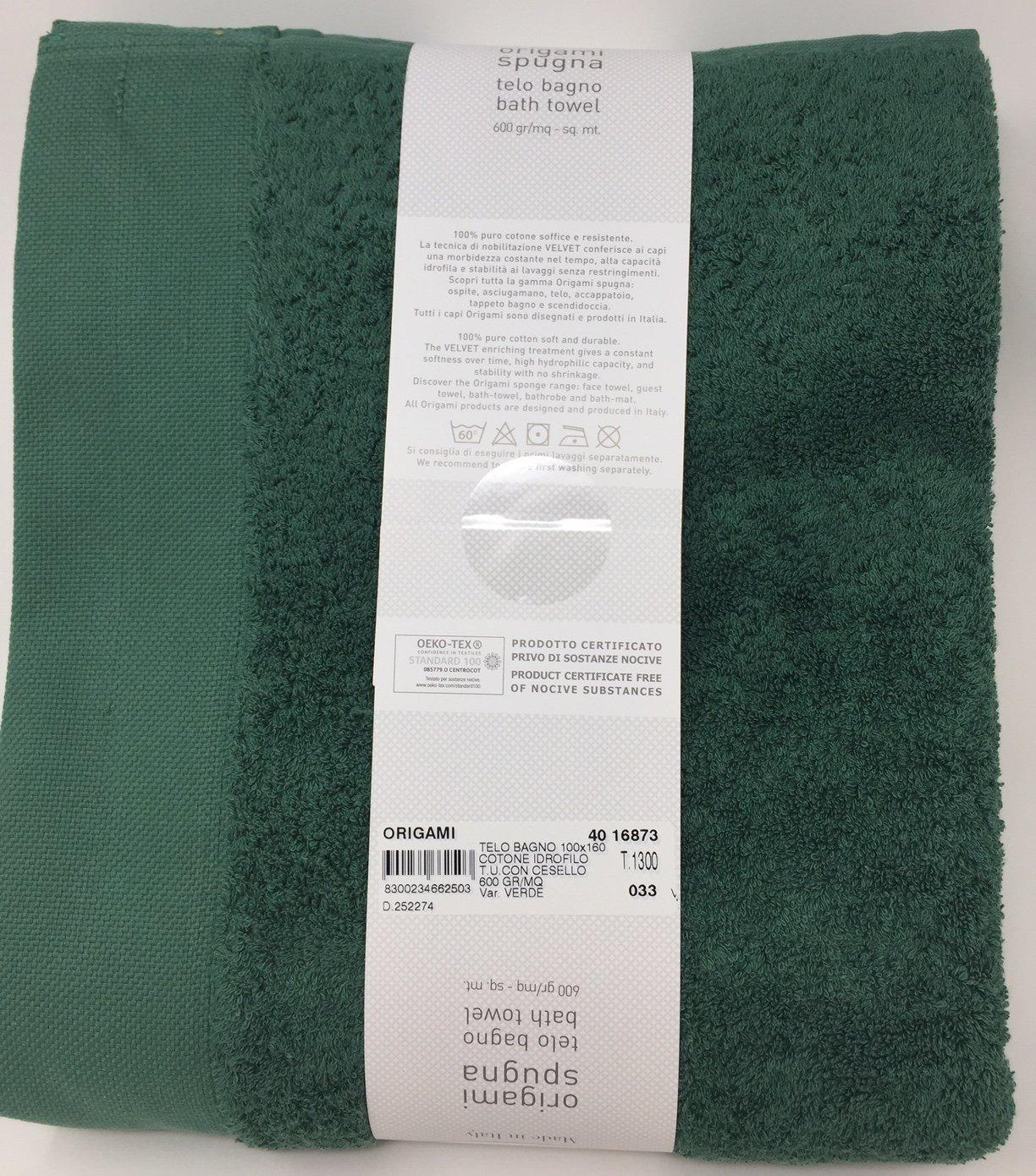cacc652663 Telo Bagno in Pura spugna idrofila 600 gr. mq Somma art. Origami con bordo  jacquard (verde 033) cm. 100x160: Amazon.it: Casa e cucina
