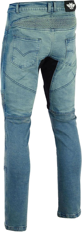 Bangla Herren Motorradhose Motorrad Hose Jeans Denim mit Protektoren blau inch 36